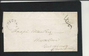NOVA SCOTIA 1842 EL FROM PICTOU TO GUT OF CANSO 4/2/6 RATE MARK PICTOU SINGLE AR