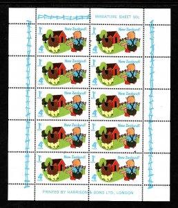 New Zealand-Sc#B93a-Unused NH sheet-Child feeding lamb-id#2-1975-