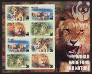 Ghana WWF African Lion MS Imperforated SG#MS3436 MI#3701-3704 SC#2433 a-d