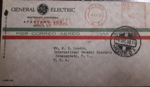 O) 1939 MEXICO, METER STAMP -FRANKING MACHINE, GENERAL ELECTRIC, TO USA