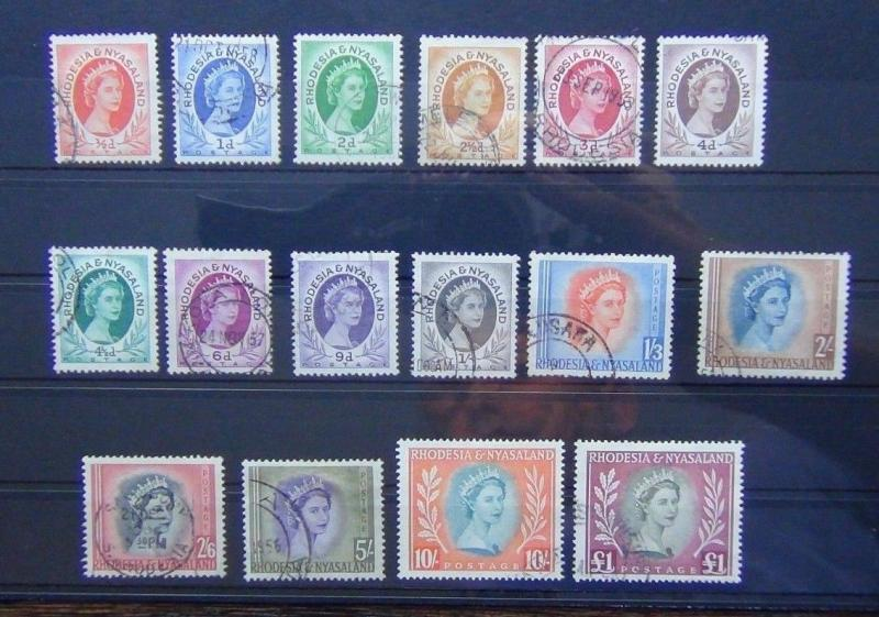 Rhodesia & Nyasaland 1954 - 1956 set to £1 Fine Used SG 1 - SG15