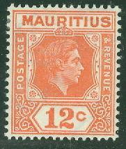 MAURITIUS #216a Mint LH, VF, Scott $50.00