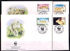Mongolia, Scott cat. 2209-2212. W.W.F.- Fauna issue on 4 First day covers. ^