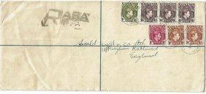 Nigeria 1952 Aba cancel on registry envelope to England