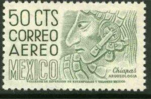 MEXICO C220En 50¢ 1950 Def 6th Issue Fosforescent unglazed MINT, NH. F-VF.