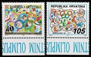1993 Croatia Scott Catalog Number 128-129 Unused No Gum