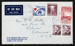 AUSTRALIA COVER SCOTT #211, 232, 270, 271 LARGS NORTH TO DELAWARE USA 1954