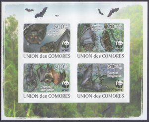 Comoro Islands MNH S/S Bats Fauna WWF Imperf. 2009 4 Stamps
