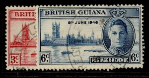 BRITISH GUIANA GVI SG320-321, VICTORY set, FINE USED.