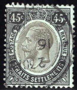 163a, Straits Settlements, 45 Cents, Used, 1914 (cancelled 1916)