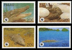 Palau WWF Estuarine Crocodile 4v SG#673-676 MI#690-693 SC#323 a-d