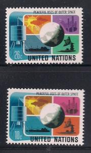 UN NY Sc# 256 257 Peaceful Use of Space MNH