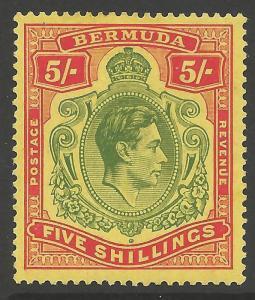 BERMUDA SG118 1938 5/= GREEN & RED/YELLOW MTD MINT