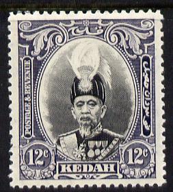 Malaya - Kedah 1937 Sultan 12c black & violet fine mo...