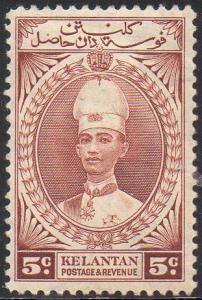 Kelantan 1937 5c red-brown MH