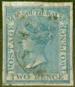 NSW 1882 2d Pale Blue Wmk 40 Imperf Single Used Scarce