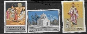 CYPRUS SG274/6 1966 DEATH ANNIVERSARY OD ST BARNABAS MNH
