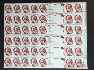 1983 Sheet of American Lung Association Christmas Seals with Santa