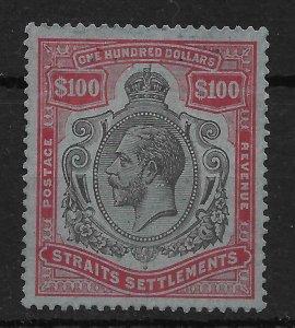 MALAYA STRAITS SETTLEMENTS SG240c 1923 $100 BLACK & CARMINE ON BLUE USED