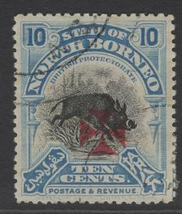NORTH BORNEO SG208 1916 10c BLUE USED