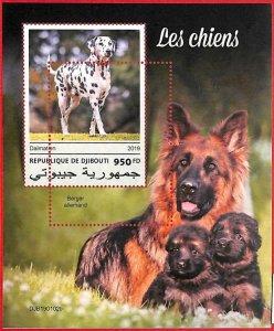 A1760 - DJIBOUTI, ERROR: MISSPERF, S/S - 2019, Dogs, Dalmatians, German Shepard