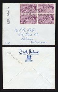 1956 COVER BERMUDA TO USA 3D - MAP OF BERMUDA STAMP - BLOCK OF 4