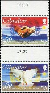 Gibraltar 1995 Sc 694-695 Bird Dove UN Anniversary CV $3.90