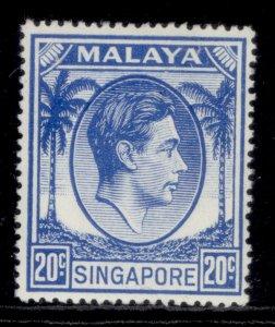 SINGAPORE GVI SG24a, 20c bright blue, LH MINT. Cat £13.