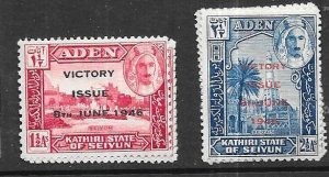 Aden-Kathiri State of Seiyun #12-13  (MNH)  CV $0.50