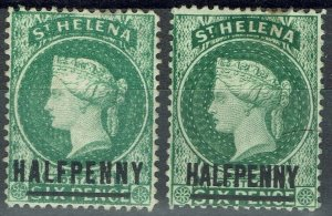 ST HELENA 1884 QV HALFPENNY - BOTH 17MM AND 14.5MM LONG