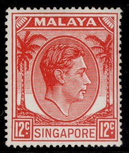SINGAPORE GVI SG22a, 12c scarlet, M MINT. Cat £14.