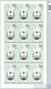 GUINEA BISSAU -  set of 4 different  IMPERF SHEET: FLAGS: 633 + 634 + 635 + 637