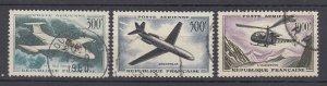 J29314, 1957-9 france set used #c34-6 airmail