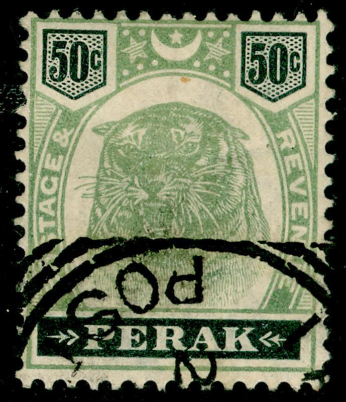 MALAYSIA - Perak SG75, 50c green & black, FINE used. Cat £170.