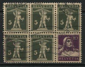 Switzerland 1930 booklet pane of 6 used