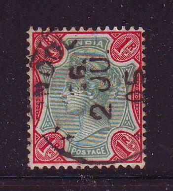 India Sc 49 1892 1 R car & grn Victoria stamp used