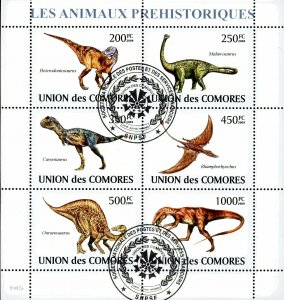 Comoro Islands Stamps Sc#1098- (2009) - S/Sheet - Prehistoric Animals - Cance...
