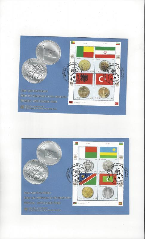 UN Geneva Coins and Flags 2008 484 FDC Geneva Cachet