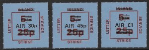 GREAT BRITAIN 1971 STRIKE POST LABELS Surcharged Airmail Set MNH