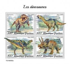 TOGO - 2019 - Dinosaurs - Perf 4v Sheet - M N H