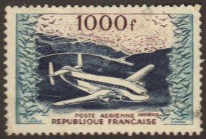 France #C32 used 1000fr plane