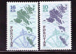 FAROE ISLANDS Scott 305-306 MNH** 1996 Map Compass set CV $6.50