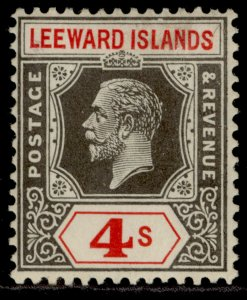 LEEWARD ISLANDS GV SG77, 4s black & red, M MINT.