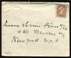 Canada 3 Cent Small Queen tied by 1894 Cacouna Quebec CDS on cover to New York