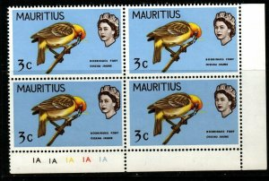 MAURITIUS SG371 1968 3c BIRDS CHANGED COLOUR MNH BLOCK OF 4