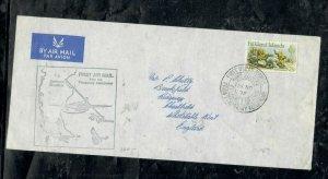 FALKLAND ISLANDS COVER (PP0301B) 1972 QEII  FF COVER VIA ARGENTINA TO ENGLAND