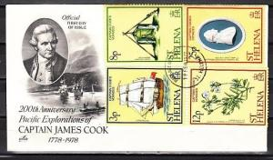 St. Helena, Scott cat. 324-327. Captain Cook issue. First day cover.