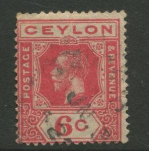 Ceylon #230  Used  1921  Single 6c Stamp