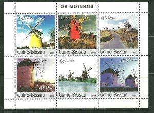 Guinea-Bissau MNH Windmills 2003 6 Stamps