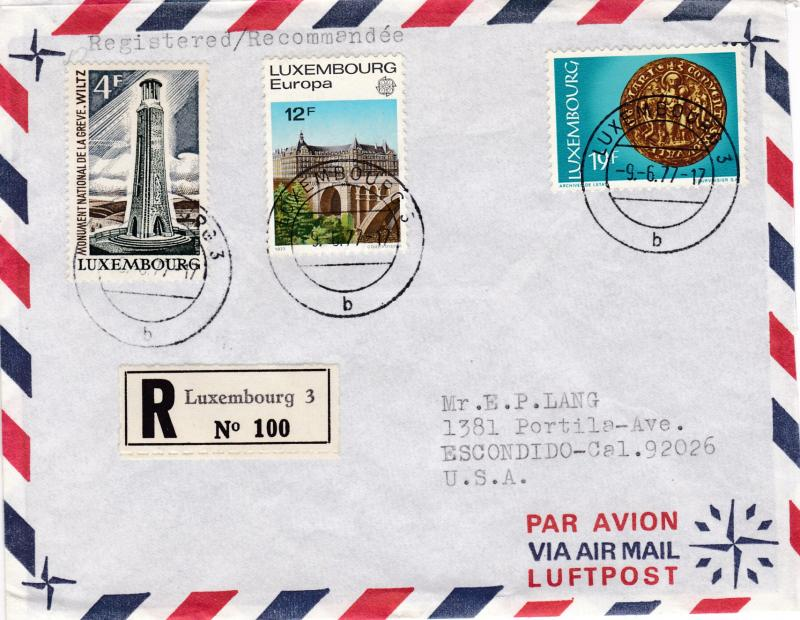 Luxembourg 1977 Registered Airmail Cover with Europa issue to Calif.